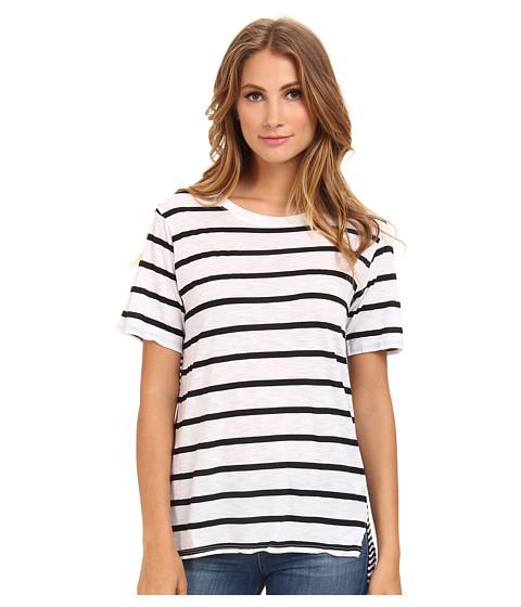 Michael Stars - Downtown Stripe S/S Crew Neck (White) Women's Short Sleeve Pullover