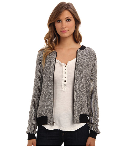 Michael Stars - Knit Tweed L/S Zip Up Jacket (Tweed) Women