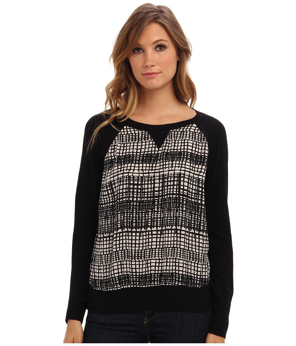 Michael Stars - Park Ave Silk Print L/S Sweatshirt (Ivory/Black) Women's Sweatshirt