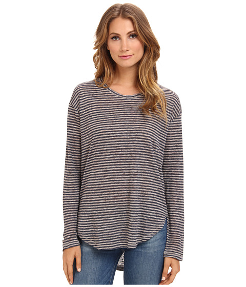 Michael Stars - Linen Knit Striped L/S Scoop Neck (Stone/Navy) Women