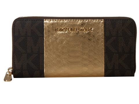 MICHAEL Michael Kors Jet Set Tarvel Center Stripe ZA Continental (Brown/Gold/Coffee) Checkbook Wallet
