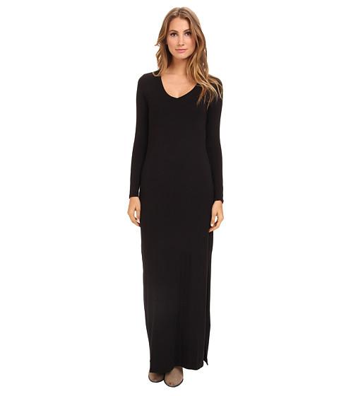 Michael Stars - L/S V-Neck Maxi Dress w/ Side Slits (Black) Women's Dress