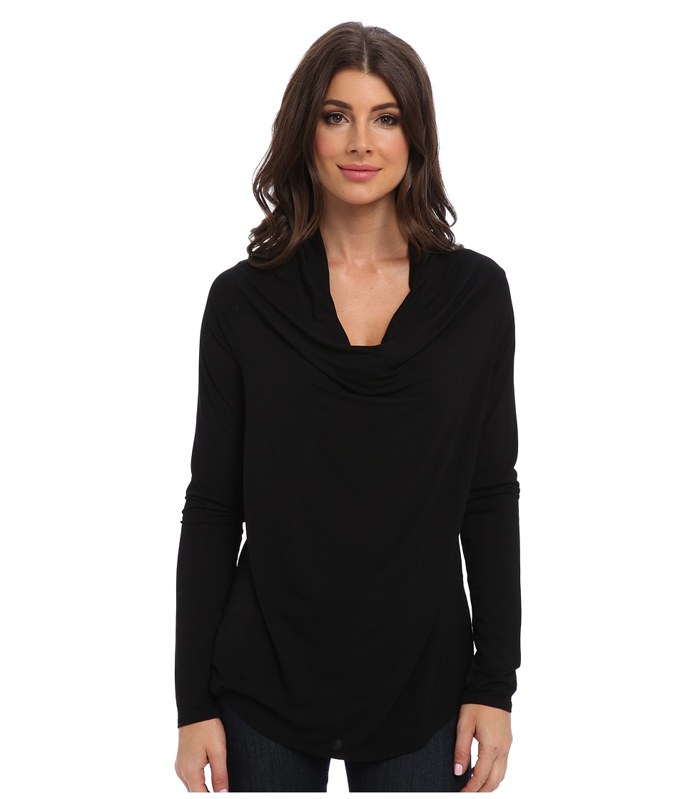 Michael Stars - Lycra Jersey L/S Drape Neck (Black) Women's Long Sleeve Pullover