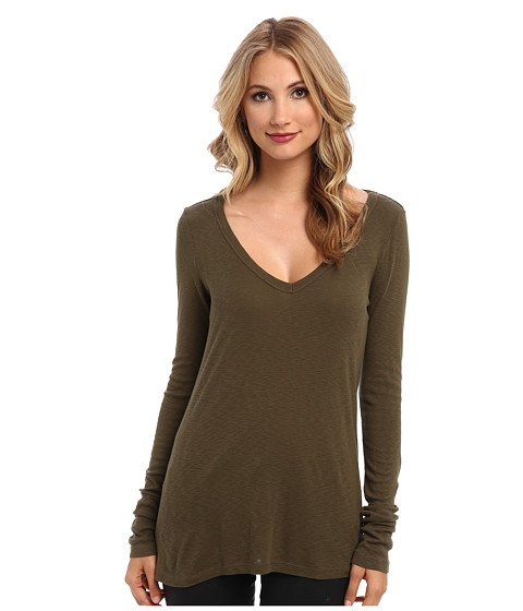 Michael Stars - Slub Long-Sleeve V-Neck Tee (Topiary) Women