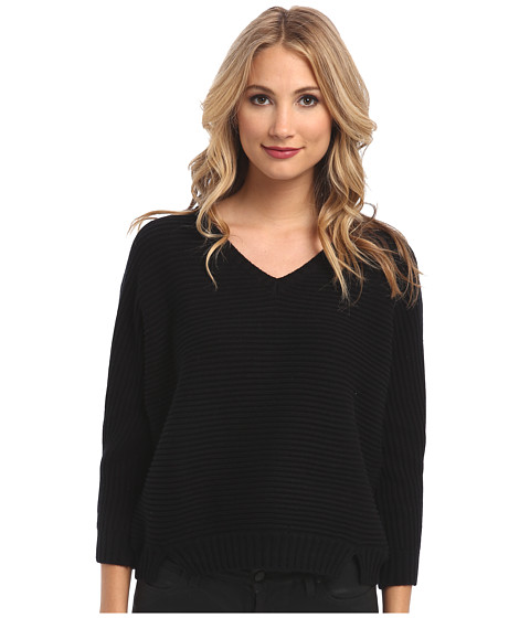 Michael Stars - Chunky Rib 3/4 Sleeve High-Low V-Neck Sweater (Black) Women