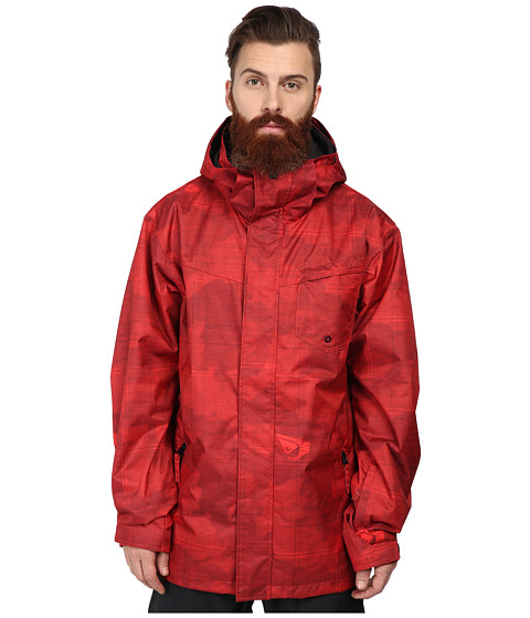 Quiksilver - Mission Print Shell Jacket (Fiery Red Pattern) Men's Coat