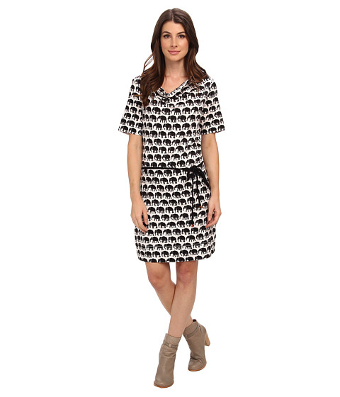 Hatley - Cowel Neck Dress (Elephants Black & Ivory) Women