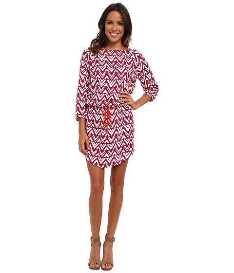 Hatley - Cinch Waist Dress (Blocked Chevron Pink) Women's Dress