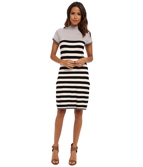 Hatley - Funnel Neck Knit Dress (Black & Ivory Stripes) Women