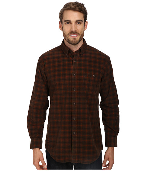 Pendleton - L/S Wayne Shirt (Brown/Red Plaid Corduroy) Men's Long Sleeve Button Up