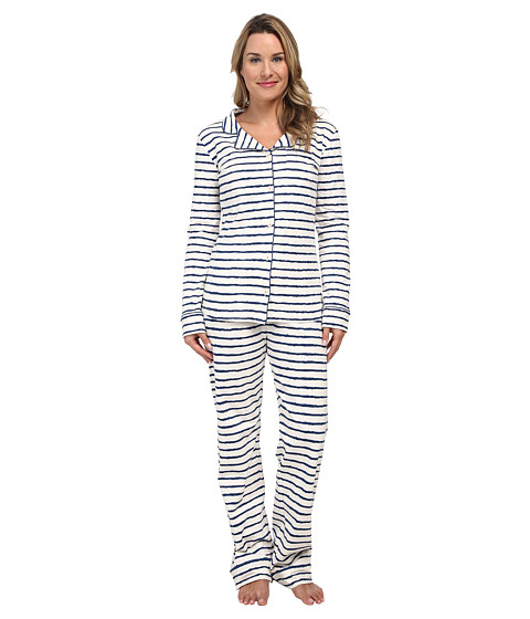 Hatley - 2 Piece PJ Set (Navy Scribble Stripes) Women's Pajama Sets