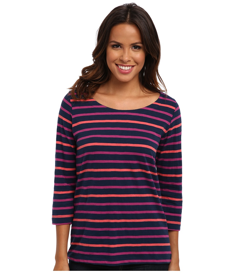 Hatley - Deck Zip Tee (Coral Pink Navy Stripes) Women