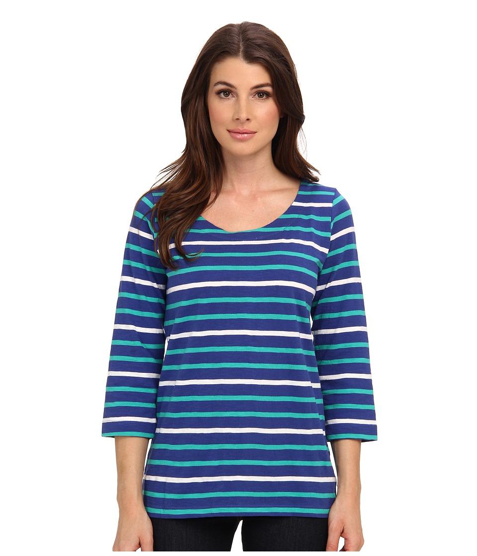 Hatley - Deck Zip Tee (Blue Aqua White Stripes) Women's T Shirt