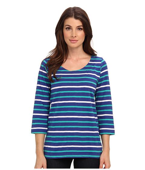 Hatley - Deck Zip Tee (Blue Aqua White Stripes) Women