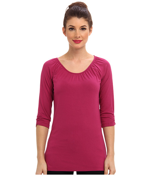 Hatley - Ruched Scoop Neck Tee (Pink) Women's Long Sleeve Pullover