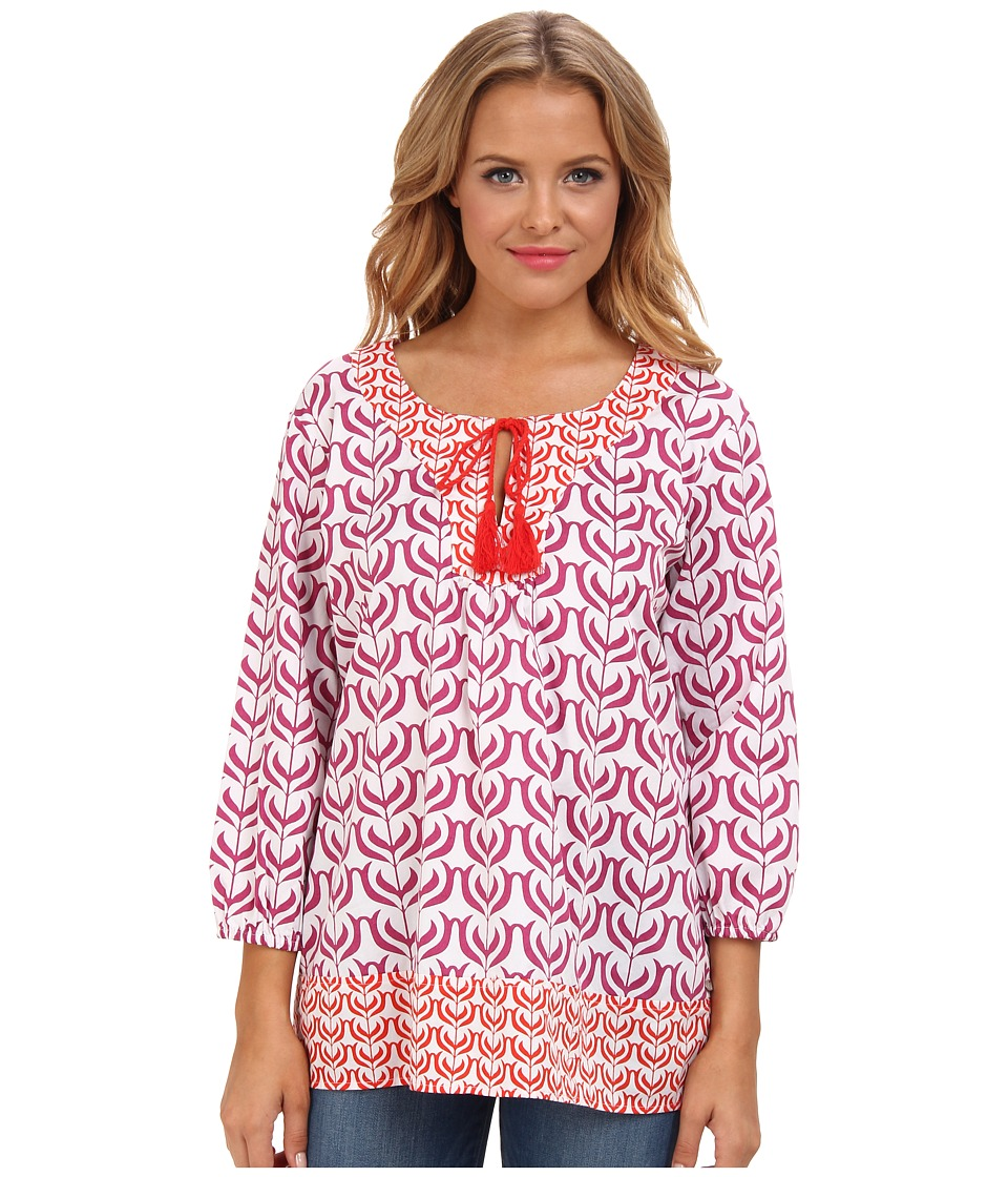 Hatley - Tasseled Tunic (Indian Floral Blocks Pink) Women's Blouse