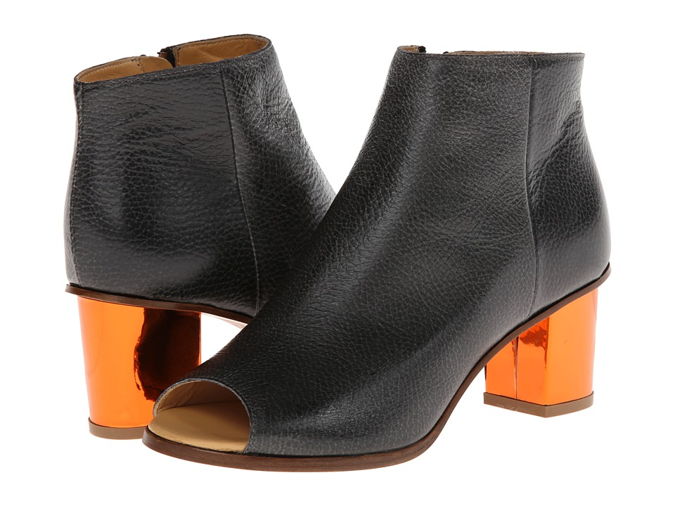 MM6 Maison Margiela - Ankle Boots with Metallic Heel (Black/Orange) Women