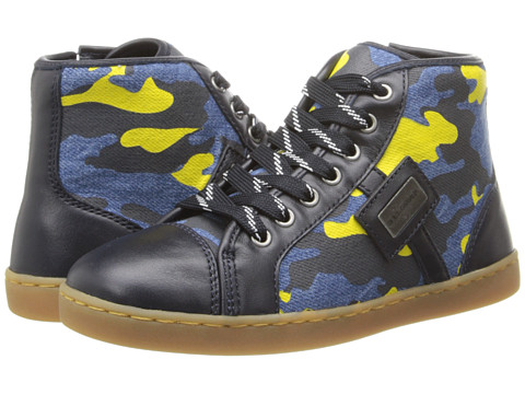 Dolce & Gabbana - Graphic Print High Top Sneaker (Little Kid) (Blue/Yellow) Men's Shoes