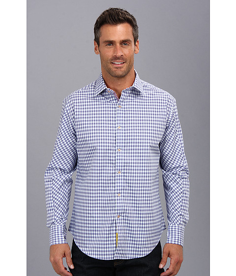 Robert Graham - Centerbe L/S Woven Sport Shirt (Navy) Men's Long Sleeve Button Up