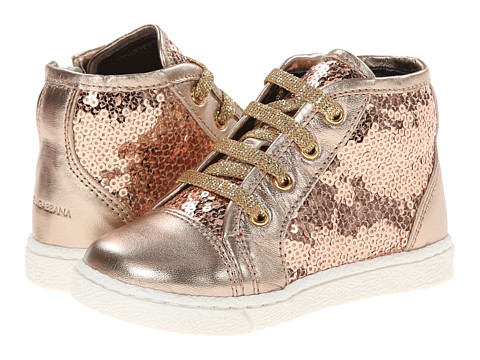 Dolce & Gabbana - Sequin High Top Sneaker (Toddler) (Light Gold) Women's Lace up casual Shoes