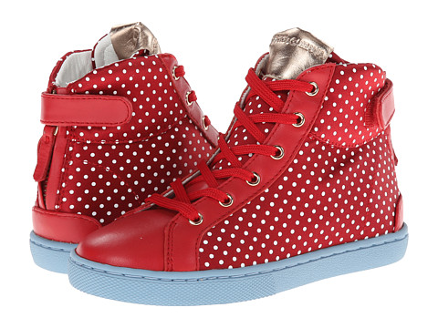 Dolce & Gabbana - Polka Dot High Top Sneaker (Little Kid/Big Kid) (Dark Red) Women