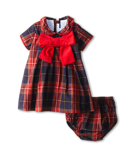 Elephantito - Plaid Baby Dress w/ Bow (Infant) (Red And Blue) Girl