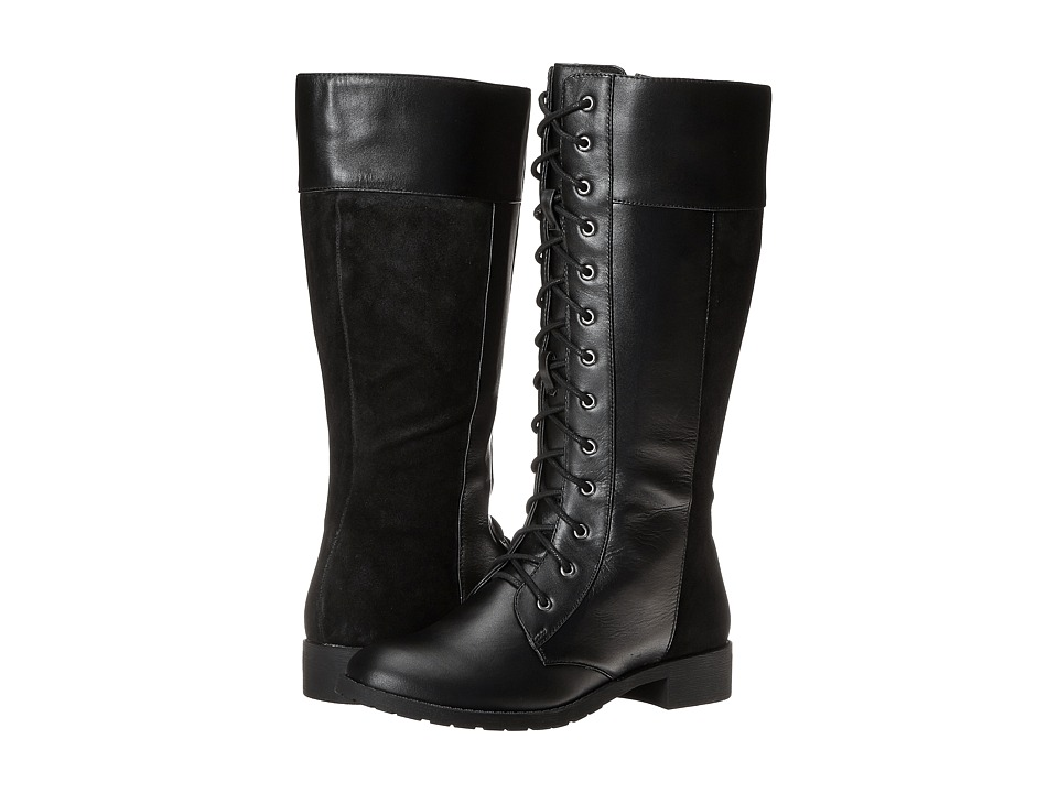 Fitzwell - Nessie Wide Calf (Black Leather) Women's Wide Shaft Boots