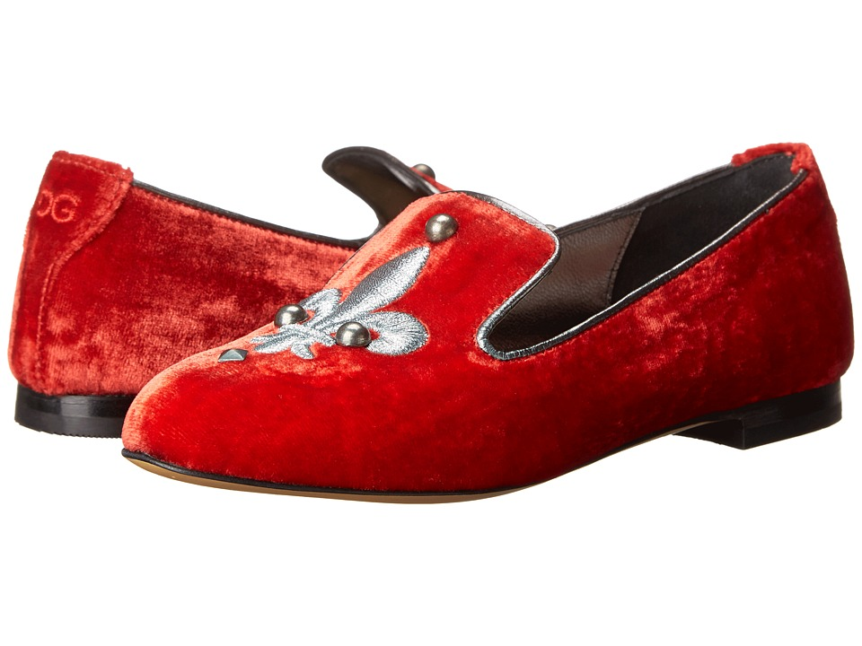 Dolce & Gabbana - Fleur De Lis Slipper (Little Kid) (Red) Women's Slip on Shoes
