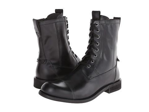 John Varvatos - Star Strum Combat Zip Boot (Mineral Black) Men