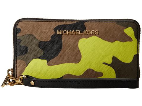MICHAEL Michael Kors Jet Set Travel Large Mlt Funt Phone Case (Acid Lemon) Clutch Handbags