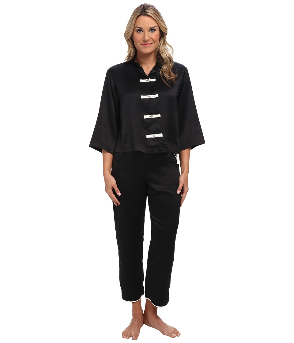 Natori - Solid Charmeuse Essentials Mandarin PJ (Black) Women's Pajama Sets