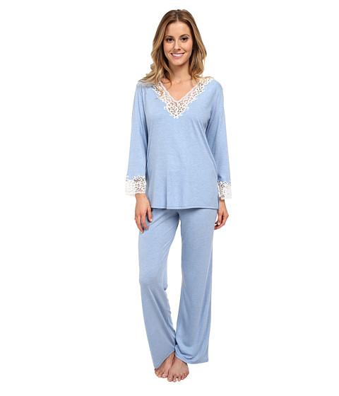 Natori - Lhasa L/S PJ (Periwinkle w/ Ivory Lace) Women's Pajama Sets