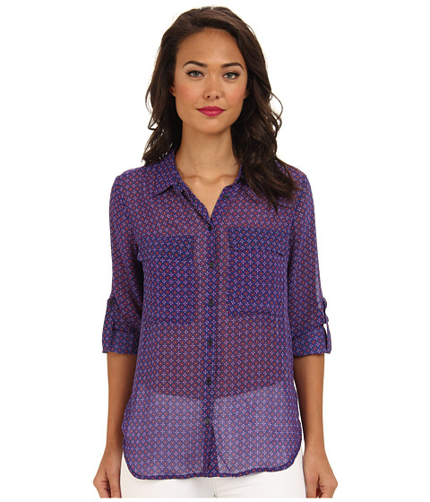 KUT from the Kloth - Quinn Lightweight Button Down Shirt (Navy/Berry) Women's Long Sleeve Button Up