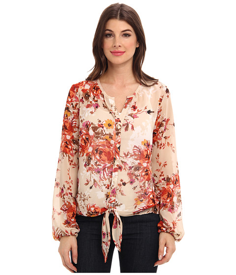 KUT from the Kloth - L/S Floral Shirt (Tan) Women's Blouse