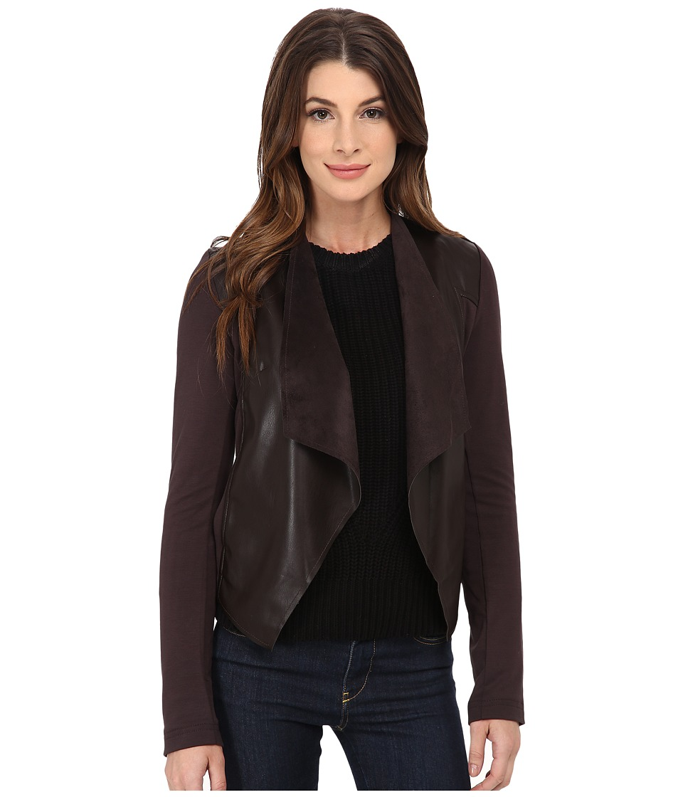 KUT from the Kloth - Faux Leather Drape Jacket (Brown) Women
