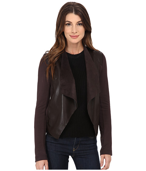 KUT from the Kloth - Faux Leather Drape Jacket (Brown) Women's Jacket