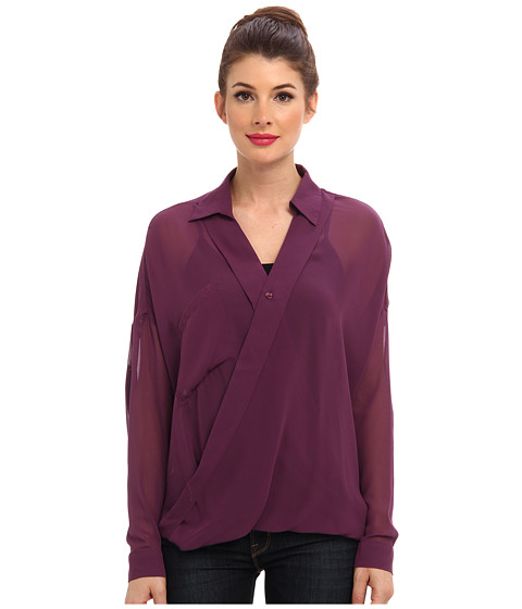 KUT from the Kloth - L/S Wrap Top (Purple) Women's Blouse