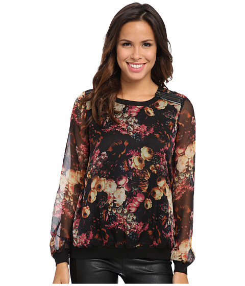 KUT from the Kloth - Romantic Sheer Floral Top (Black Floral) Women's Blouse