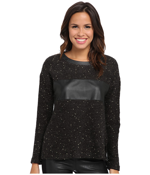 KUT from the Kloth - Liana L/S Scoop Neck Top (Black) Women's Long Sleeve Pullover
