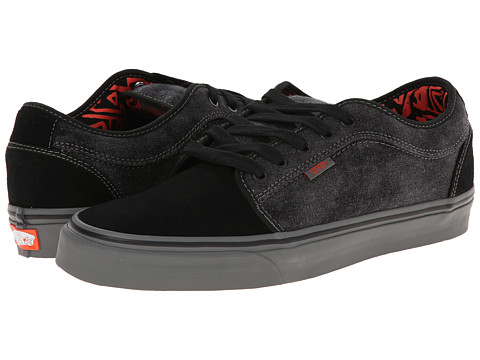 Vans - Chukka Low ((Washed Denim) Black/Orange) Men's Skate Shoes