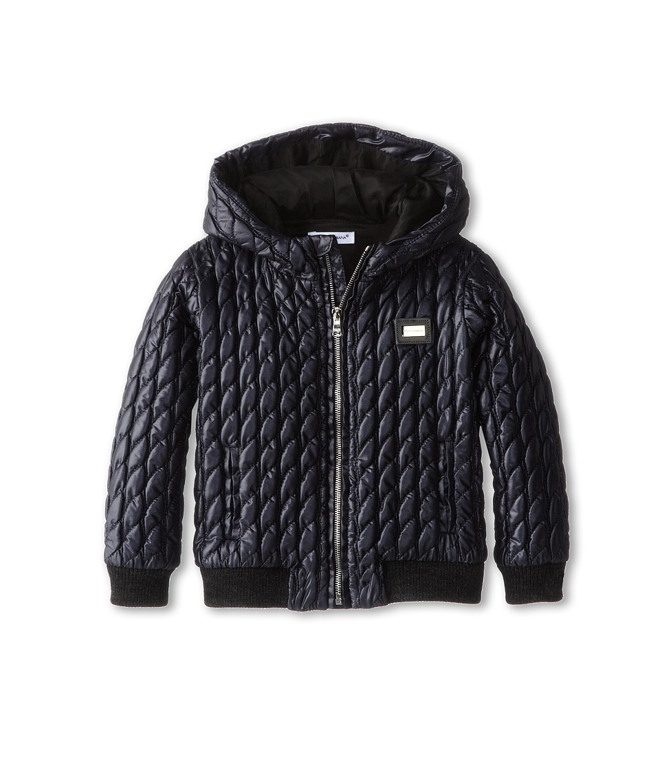 Dolce & Gabbana - Quilted Nylon Zip-Up Hoodie (Infant) (Very Dark Blue) Men's Sweatshirt