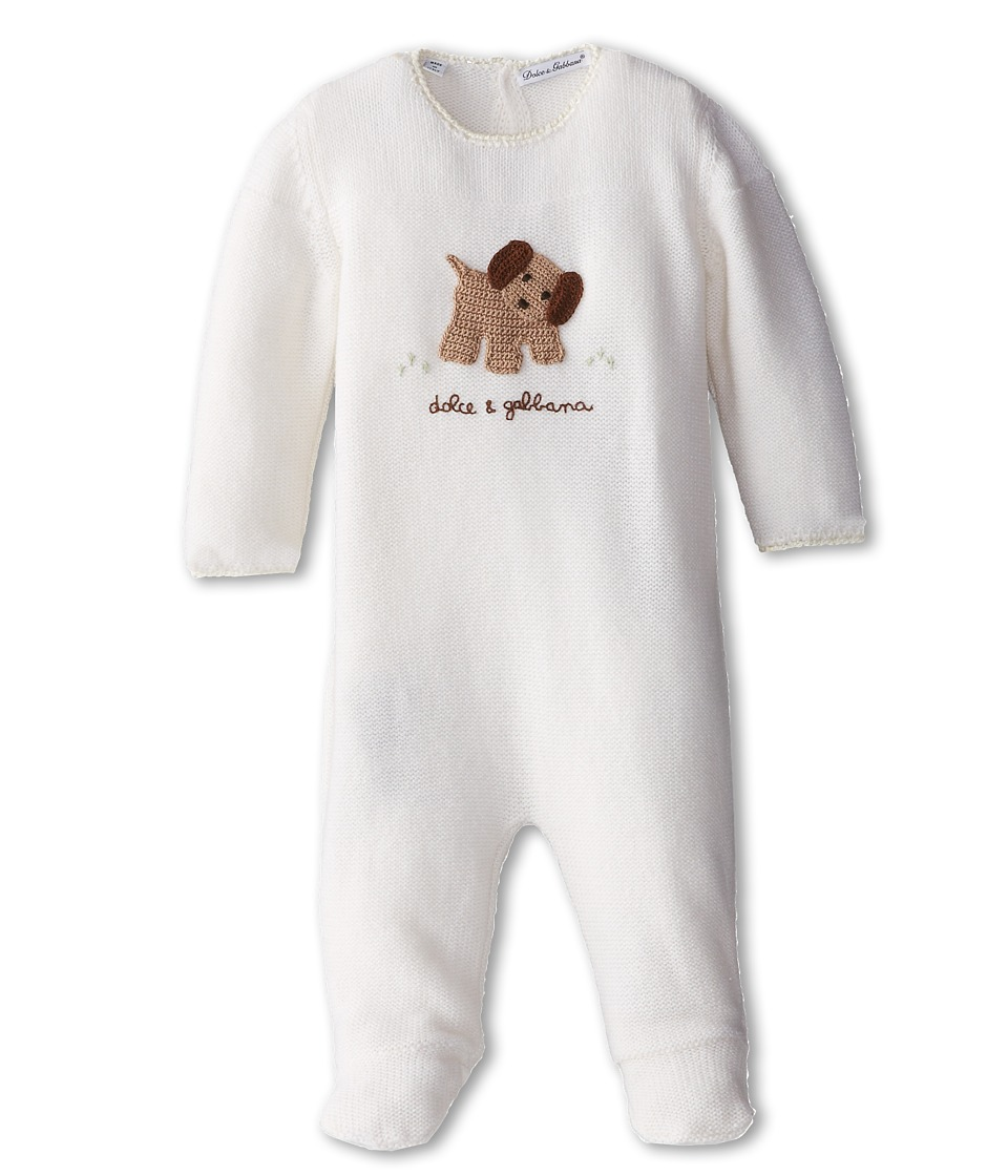 Dolce & Gabbana - Puppy Print Long Sleeve Footed Romper (Infant) (Bright White) Men