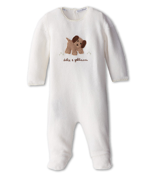Dolce & Gabbana - Puppy Print Long Sleeve Footed Romper (Infant) (Bright White) Men's Jumpsuit & Rompers One Piece