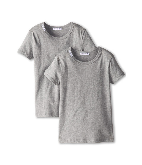 Dolce & Gabbana - 2-Pack Short Sleeve T-Shirt (Toddler/Little Kids) (Melange Grey) Men's Short Sleeve Pullover
