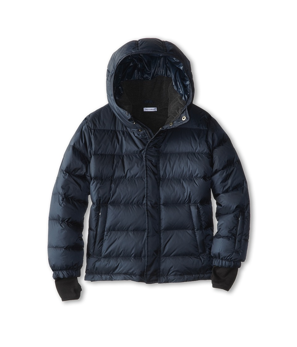 Dolce & Gabbana - Nylon Hooded Down Jacket (Toddler/Little Kids) (Dark Blue) Men