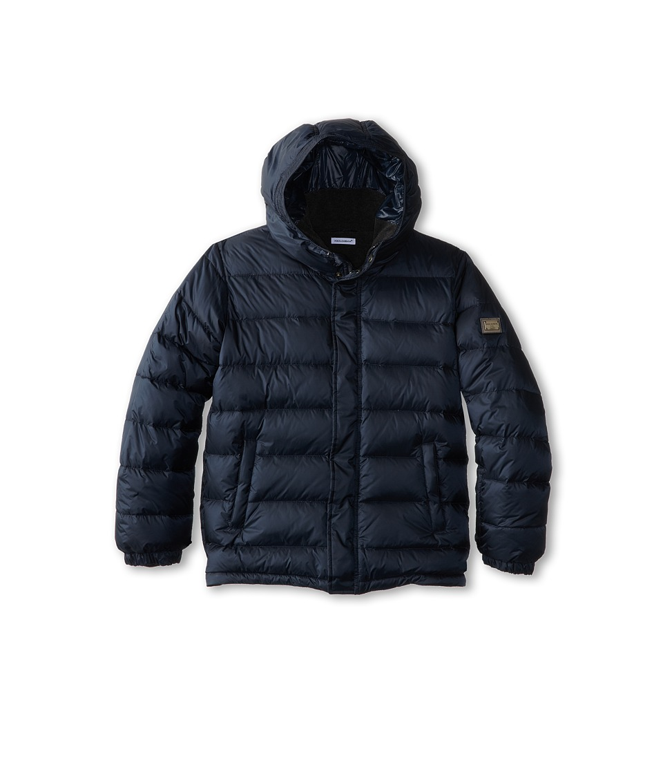 Dolce & Gabbana - Nylon Hooded Down Jacket (Big Kids) (Dark Blue) Men