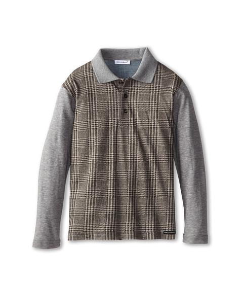 Dolce & Gabbana - Long Sleeve Plaid Polo Shirt (Toddler/Little Kids) (Multi) Men