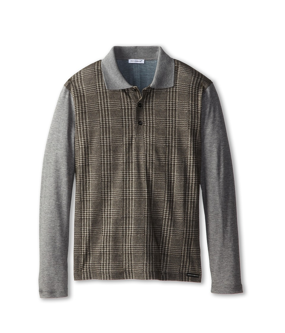 Dolce & Gabbana - Long Sleeve Plaid Polo Shirt (Big Kids) (Multi) Men