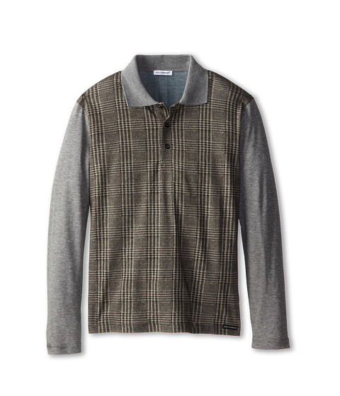 Dolce & Gabbana - Long Sleeve Plaid Polo Shirt (Big Kids) (Multi) Men's Long Sleeve Pullover