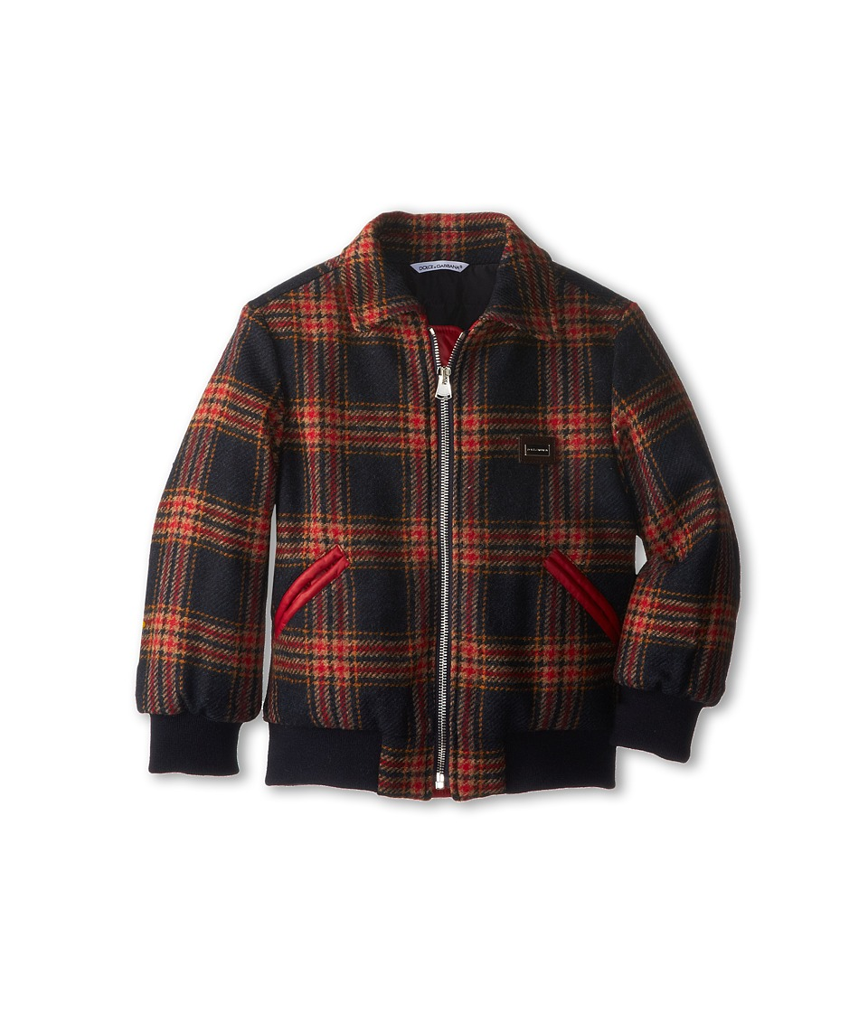 Dolce & Gabbana - Tartan Zip-Up Collared Jacket (Toddler/Little Kids) (Check Tartan) Men's Coat
